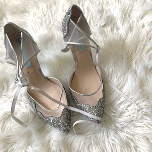 Betsey Johnson Glittery Lace Up Heels